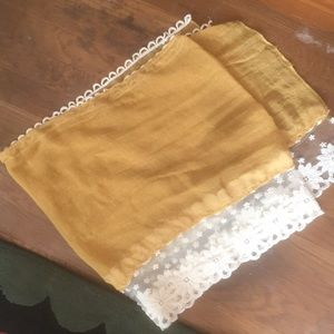 Mustard Lace Trim Spring Scarf